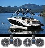 """Best デュアルエレクトロニクスPAシステム - 2)ロックビルdwb80sデュアル8""""シルバー1600W Marine Wakeboardタワースピーカーシステム Review"""