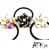 [ATK21] フラワー カメリア ヘアゴム ヘアポニー シンプル お花 オフィス レディース ヘアアクセサリー (ホワイト)