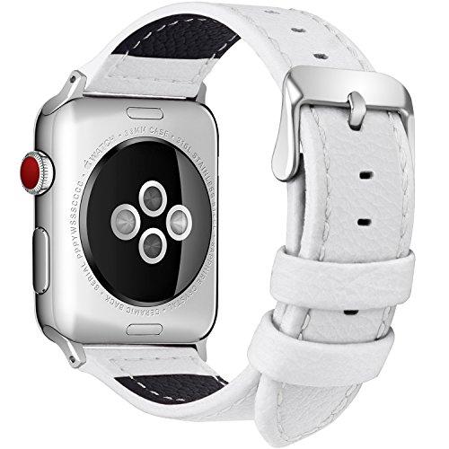 全7色 Apple Watch バンド ベルト ,アップルウォッチバンド38mm 42mm Fullmosa apple watch series1 2 3 バンド 本革レザー 交換バンド ラグ付き ホワイト38mm