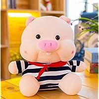 HuaQingPiJu-JP ぬいぐるみソフトストライプ布45センチメートル豚のおもちゃぬいぐるみ豚の人形ホームデコレーションキッドギフト(ブルー)