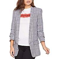 SheIn Women's Office Shawl Collar Ruched Sleeve Plaid Blazer Outerwear