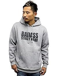 4524a BADASS バダス IMPACT ロゴ スウェット プルオーバーパーカー グレー メンズ レディース ストリート