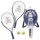 Wilson(ウイルソン) 子供用 テニスラケット セット 21インチ(幼児~小学低学年向け) [ラケット2本+ボール2個] ウィルソンベア ラケットセット WRT6164E
