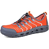Happy-L Shoes, Women & Men's Lace up Breathable Athletic Sneaker Stripe Pattern Cotton Mesh Fabric Shoes