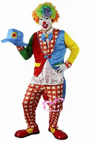 ピエロ衣装 フルセット (服、手袋、帽子、マスク、レインボーアフロ) コスチューム 男女共用 フリーサイズ