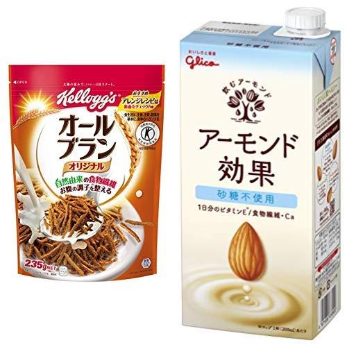 【セット買い】[トクホ]ケロッグ オールブラン袋 235g×6袋 + グリコ アーモンド効果 砂糖不使用 1000ml×6本 常温保存可能