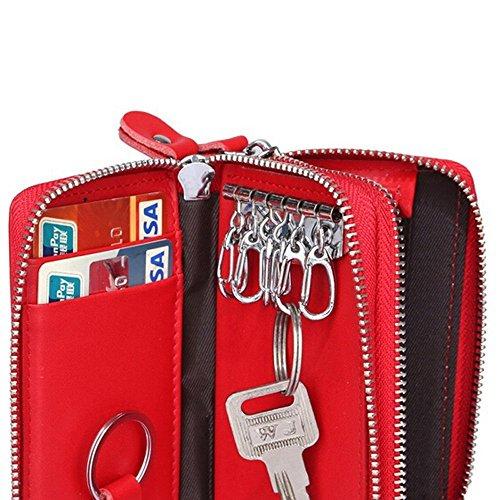 5f205aaa15e91a ... キーケース 財布 コインケース キーホルダー カード 小銭入れ 全5色 メンズ レディース(レッド ...
