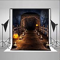 ケイト5x 7ft木製ハロウィン写真の背景幕Candleパンプキン木製家背景