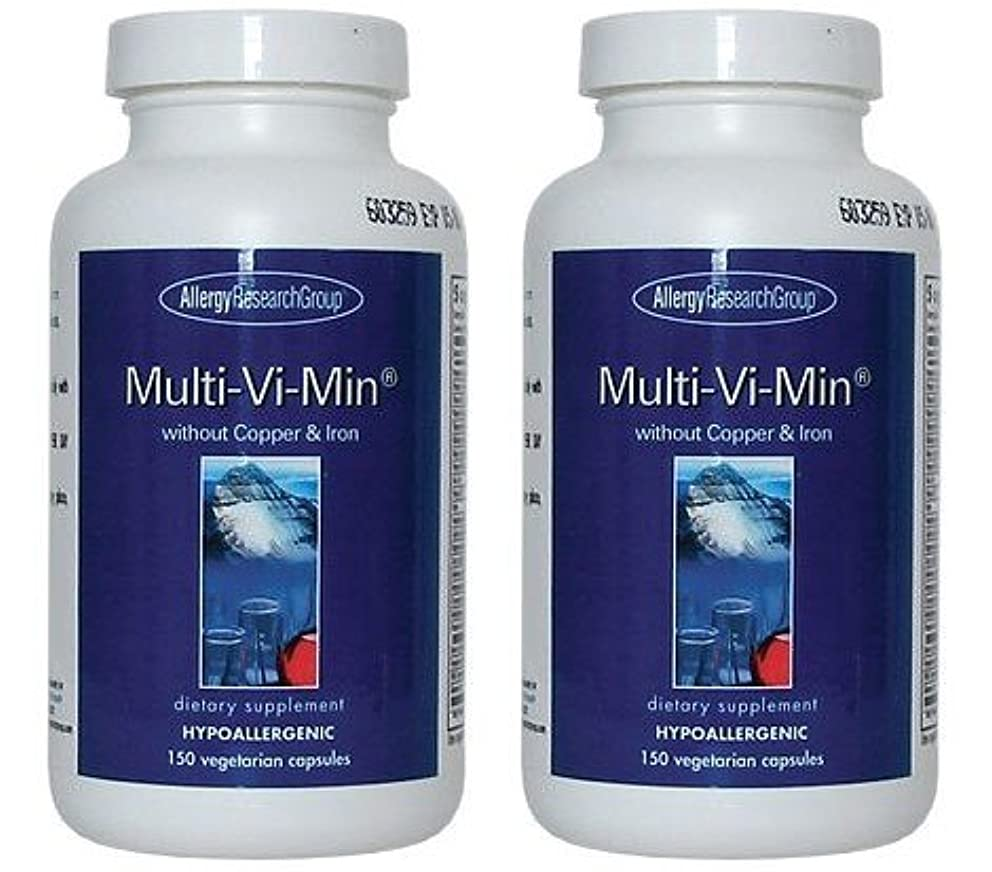 近々グラススラッシュマルチビタミン (銅、鉄分を含まず)[海外直送品](Multi-Vi-Min® without Copper & Iron 150 Vegetarian Caps ) 2ボトル