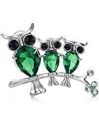 (ネオグロリー) Neoglory Jewelry グリーン 緑 フクロウ ブローチ