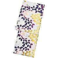 [ KIMONOMACHI ] 京都きもの町オリジナル 浴衣単品「紫×からし 萩」3L、4L 綿浴衣 大きいサイズ レトロ