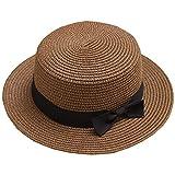 リボン付き ベーシックなカンカンボ帽 レディース 全9カラー (56~58cm, ブラウン)