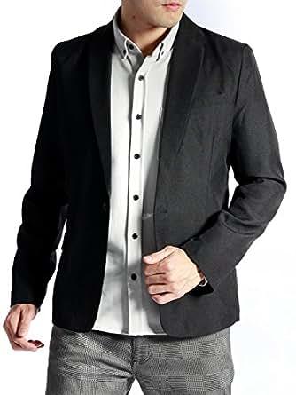 (オークランド) Oakland スーツ地 テーラード ジャケット テイラード 春 長袖 ブレザー デザイン メンズ ブラック Mサイズ