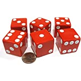 Set of 6 D6 25mm Large Opaque Jumbo Dice - Red with White Pip