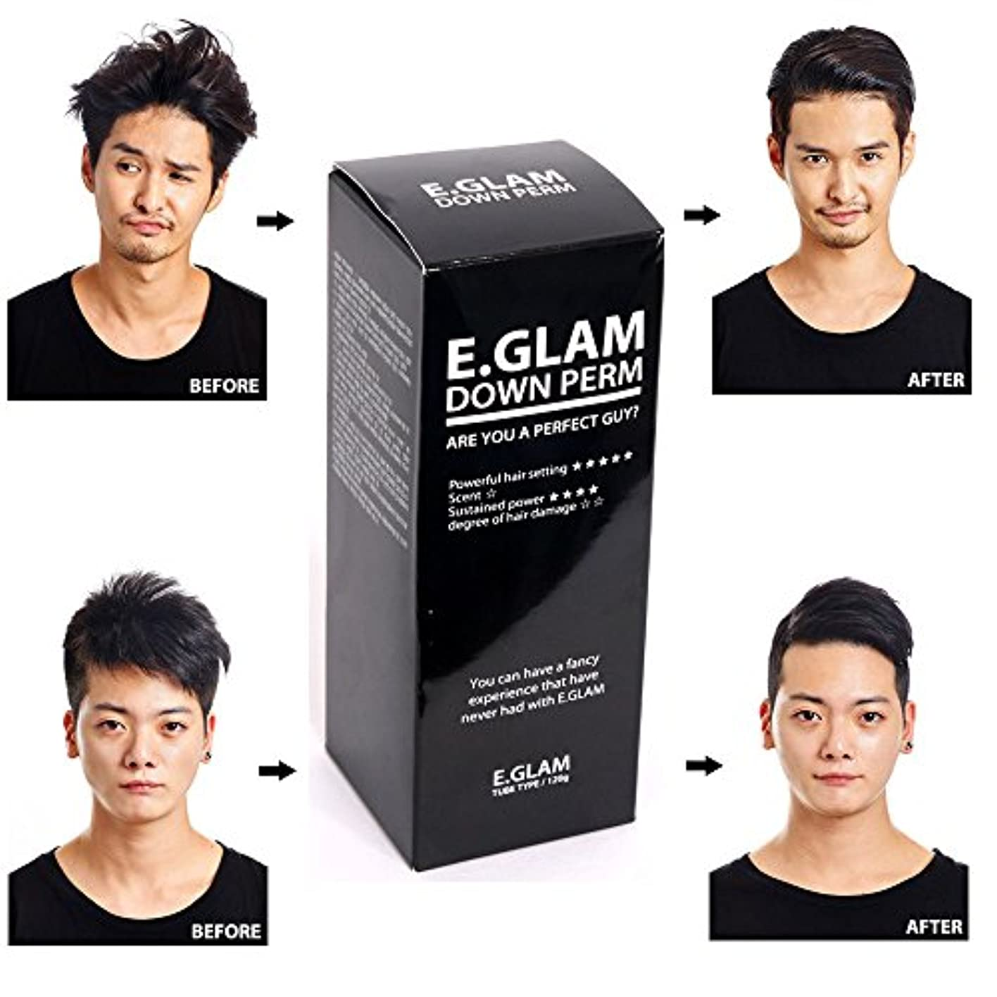 唯一うま結び目by E.Glam E.glam Down Perm for Men Speedy Easy Magic Straight Perm Home Kit 120ml [並行輸入品]