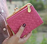 S-BBG レディース 可愛い 財布 PUレザー 編み がま口 二つ折り ミニ財布 サイフ オシャレ 小銭入れあり 7色