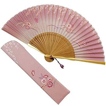 扇子 女性 扇子袋・ハンカチセット うつろい(ピンク) 箱入り おしゃれ 綿麻混 女性用 レディース 扇子