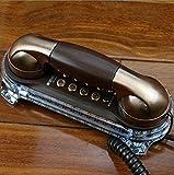 アンティーク電話レトロ壁掛け有線電話コンチネンタルホテル回廊、ベッドサイド電話、壁掛けテーブルデュアルユースL7.7in * W3.2in ( 色 : Ancient nickel )