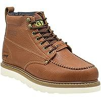 "Golden Fox Steel Toe Work Boots Men's 6"" Moc Toe Wedge Comfortable Boots for Construction"
