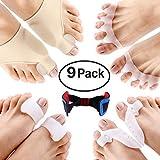 9 pcs Bunion Corrector Bunion Relief Protector Sleeves Kit Treat Pain in Hallux Valgus Big Toe Joint Hammer Toe Toe Straighteners Splint