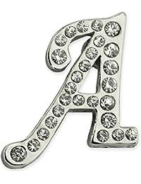Pinmart 'sシルバーメッキラインストーンアルファベット文字Aラペルピン 1