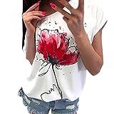 レディース ブラウス Tシャツ BOBOGOJP レディース 丸首シャツ 半袖上着 ブラウス 花柄 カジュアル風 シャツ 女性 ゆったり シンプル トップス 春夏秋服 日常 通勤 通学用 チュニック (2XL, ホワイト)