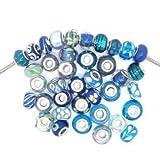 SEXY SPARKLES (セクシー スパークル) 10 個詰め合わせ ブルー グラス ランプワーク ムラーノ ガラス ビーズ (パンドラ、カミリア、トロール、ビアッジなど、ヨーロピアン スタイルのブレスレット用)