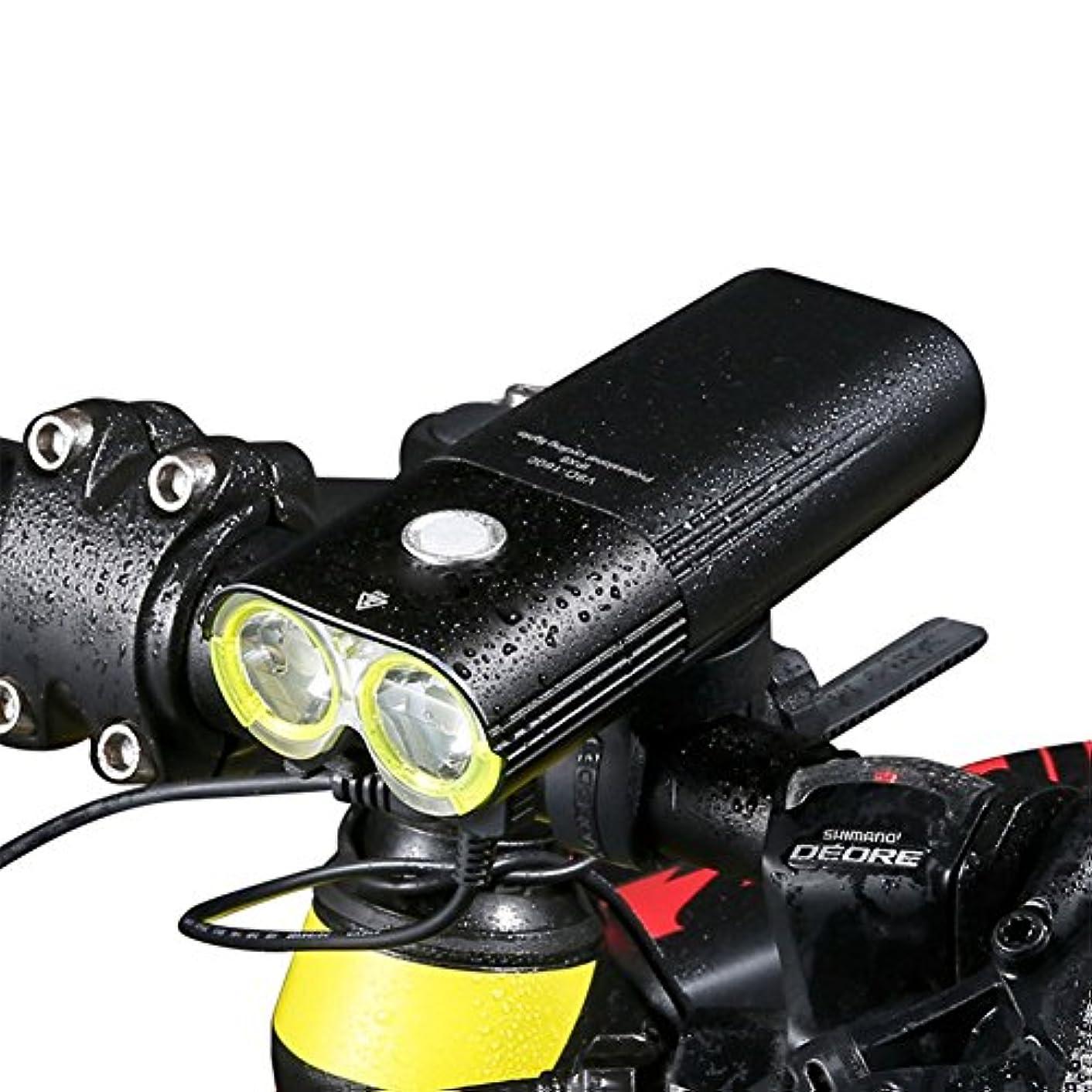 プログラムサンダース幽霊Liebeye 自転車フロントランプヘッドライト充電高輝度防水バイクサイクリング安全ヘッドランプ 1600ルーメン