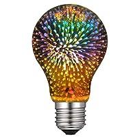 千飾 LED電球花火の花 4W E26 3D電球110V創造的なカラフルな装飾ランプ G125 フィラメント花火ボールライトホームバーカフェパーティーウェディングショー装飾 1個入り