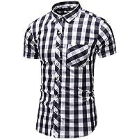 FULLSUNNY_Men Suit Men Shirt Summer Business Leisure Short-sleeved Plus Size Lattice Printing Shirts for Business, Office, Daily, Driving, Trip, Working (Blue, Black, Green, M/L/XL/XXL/XXXL/XXXXL/XXXXXL/XXXXXXL)