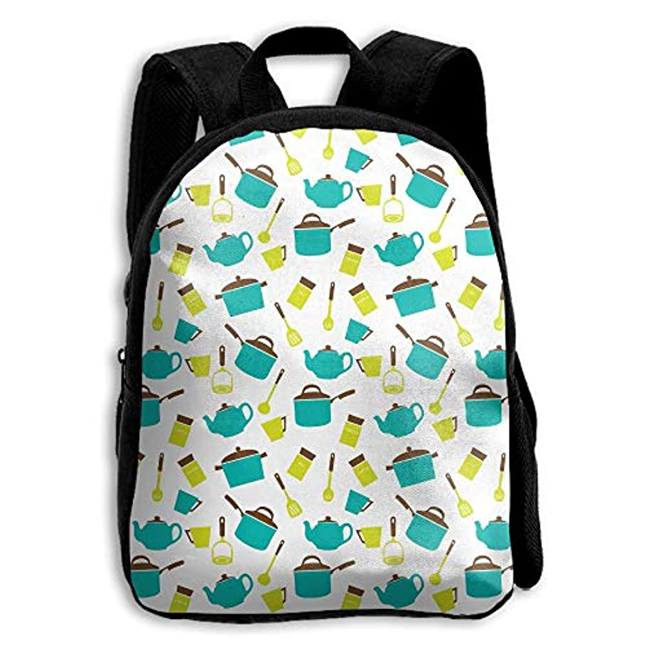 形式とげのあるブラザーキッズ バックパック 子供用 リュックサック 青色のツールパターン ショルダー デイパック アウトドア 男の子 女の子 通学 旅行 遠足