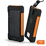 LEVIN 10,000mAh モバイルソーラーパネル 2ポート搭載 モバイルバッテリー 大容量 LEDライト付き ソーラーバッテリー生活防水 USB充電&ソーラー充電 オレンジ