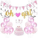 誕生日飾り付け ベビーシャワーパーティーデコレーション ピンク 女 Oh Girlバナー ガーランド 吊り下げ渦巻き 紙吹雪入れ風船 誕生日パーティー 装飾  31枚セット