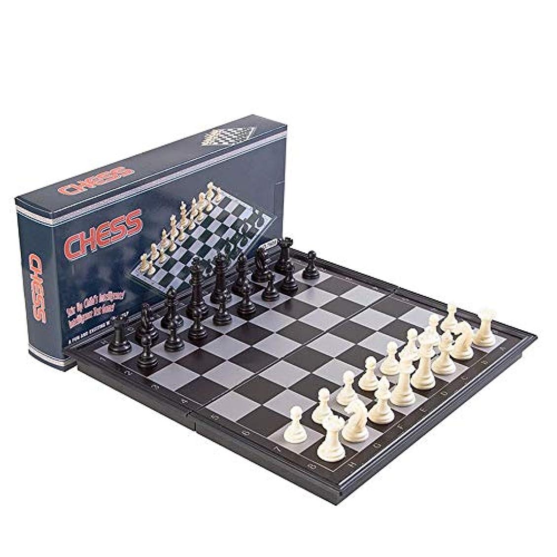 ピア肉屋契約チェスセット セ 磁気旅行チェスセット3で1チェスチェッカーバックギャモンセット用大人子供折りたたみポータブルチェスセット伝統的なチェスゲーム マスターチェス (色 : As picture, サイズ : 24*12.3*3.7cm)