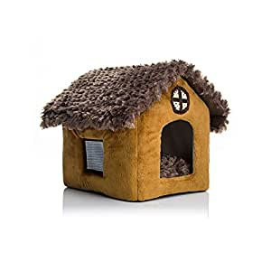DUDUPET ペットハウス 三角屋根 室内用 犬小屋 秋冬 あったかぬくぬく 折りたたみ可 ペット用品 中小型犬 猫用 ペットベッド (M)
