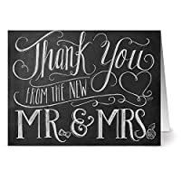 New Mr. & Mrs. - 36 Chalkboard Note Cards For $12.99 - Blank Cards - Kraft Envelopes Included by Note Card Cafe