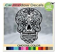 (バージョン104) OSMdecals–ブラックメキシコシュガースカルステッカーデカール–Day of the Deadダイカットビニール壁ホームデコレーション車ウィンドウバンパーデカールステッカー–Chooseカラー。