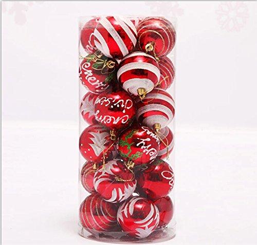 クリスマス オーナメント ボール 4種デザイン24個セット 北欧 インテリア 可愛いツリー飾り 雑貨 パーティ デコレーション クリスマス ツリー 装飾 クリスマス ツリー用品 (赤)