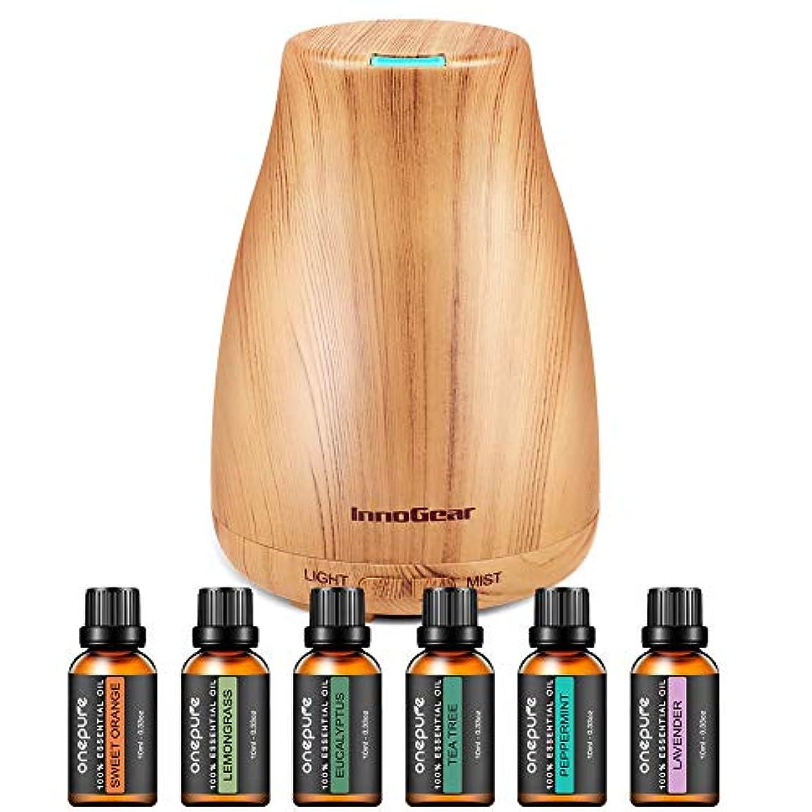 かんがいブロックするカジュアルinnoGear 6本 ボトル100%純粋なエッセンシャルオイルと150ミリリットルアロマディフューザー アップグレードし 7色 ギフトセット 香りクールミスト加湿器 家庭用 変更ライト 導きました イエロー