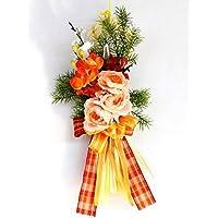 山久 モダンローズと高潔な梅の明るいビタミンカラーのお正月飾り (CT触媒加工) 1211-3506 【シルクフラワー】【造花】