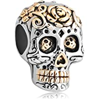 LuckyJewelry Halloween Gift Skull Cheap Charm Beads On Sale fits chamilia & troll Bracelets (Muertos Skeleton)