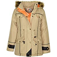 Kids Jacket Designer's Girls Stone Parka Coat Faux Fur Hooded Top Age 3-13 Years