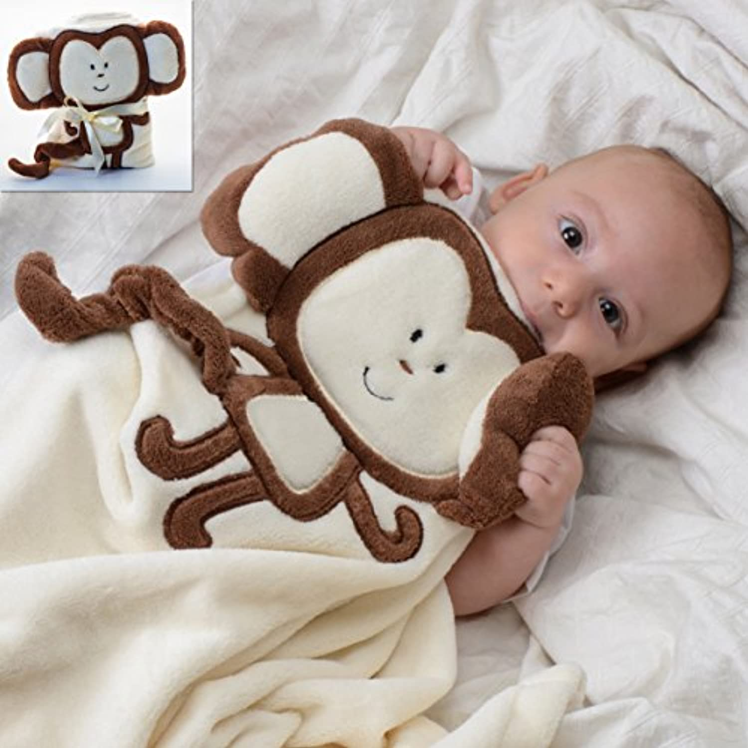 Baby-Touch Baby Plush Unisex Easy-Sleep Blanket, Monkey. Super-Soft Lightweight. Free Ebook Gift. by Baby Touch