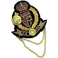 バッジ ワッペン風 刺繍 王冠 ゴールド チェーン付き d5 エンブレム WP-207