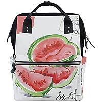 ママバッグ マザーズバッグ リュックサック ハンドバッグ 旅行用 スイカ柄 水彩絵 ファション