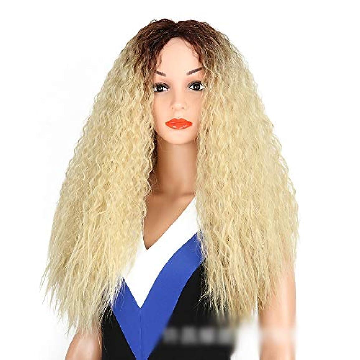 腸北極圏ディスコWASAIO 女性用ブロンドダークルーツコーンホットヘア爆発ヘッドロングカーリーウィッグアクセサリースタイル交換用繊維合成耐熱性 (色 : Blonde)