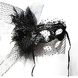 Nanle ハロウィーンラグジュアリーマスカレードマスクブラックスワンレースイブニングパーティVenetian Mardi Gras Party Mask