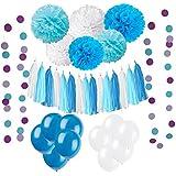 33個 ペーパーフラワー ガーランド バルーン 紙のタッセル カラフルな紙ひも,誕生日 結婚式 休日の装飾,パーティー ホテル 装飾アイテム - 青
