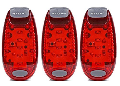 Spogram LED ランニング ライト 5個LED搭載 クリップ 型 夜ラン 自転車 散歩 高速 点滅 反射 電池付 赤3個セット