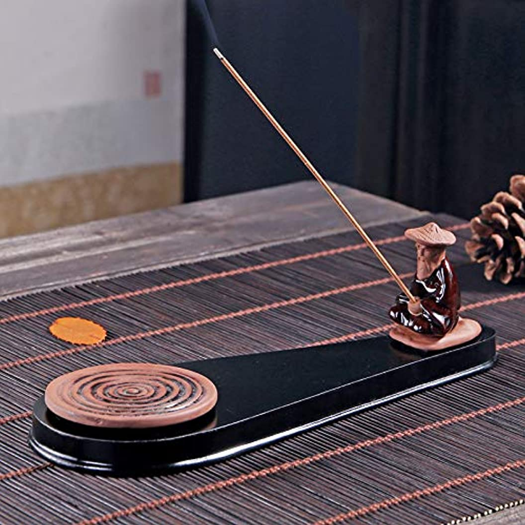 スポーツマンローン古くなったPHILOGOD 陶器香炉 手作り老人釣り 香置物 モデリング 線香立て 香皿